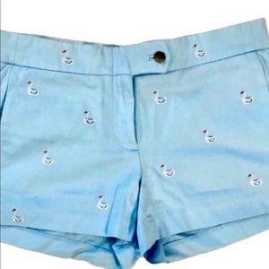 J. Crew blue w/swans shorts Sz 4
